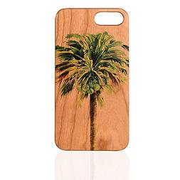 Palm Tree UV Print Cherry Wood Cell Phone Cover Real Wood Pr