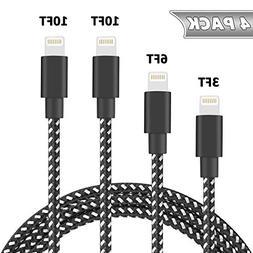 Besiva Phone Cable 4Pack 3FT 6FT 10FT 10FT Nylon Braided Com