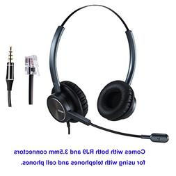 Phone Headset RJ9 Call Center Headset with Noise Cancelling