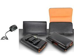 Pantech Burst P9070 Pouch Case - Premium Classic Black Pebbl