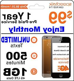 1 Year Prepaid GSM SIM Card - Monthly 250 Minutes Talk 250 T