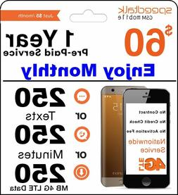 1 Year Prepaid GSM SIM Card - Monthly 250 Minutes Talk or 25