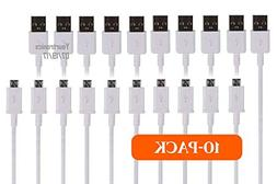 Pack of 10-5FT Quick Charge Micro USB Cable Rapid Charging S