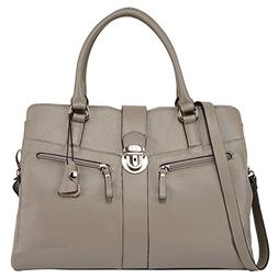 Banuce Gray Real Leather Handbags for Women Business Work Br