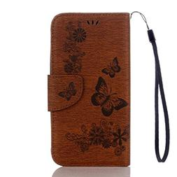 S7 Active Case,Embossing Butterfly Flower PU Leather  Flip W