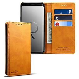 Samsung S9 Smart Leather Wallet Cell Phone Card Holder Case