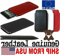 # SLIM CREASED GENUINE REAL LEATHER POCKET CASE SLEEVE POUCH
