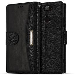 Sony Xperia XA2 Ultra Case, IDOOLS Leather Phone Case with C