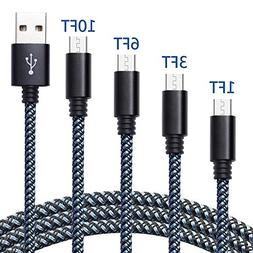 High Speed Micro USB Cable 4 Pack 1FT 3FT 6FT 10FT Android C