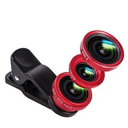 Luxsure Universal 3 in 1 Camera Lens Kit Clip-On 180 Degree