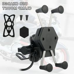 Universal Motorcycle Cell Phone Handlebar Mount Holder USB C