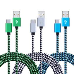 USB Type C, USB C to USB A Charger 3Pack 6FT Braided Sync Da