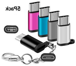 Arukas USB C Adapters with Keychain, USB Type C to Micro USB