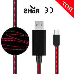 Type USB C Cable,MKDGO Portable Flowing LED Flash Light Cabl