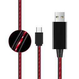 Type USB C Cable Flowing LED Sync Data Support Fast Charging