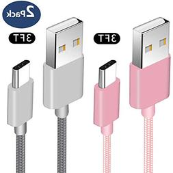 USB Type C Cable, 2Pack 3FT Nylon Braided USB A to USB C Cha