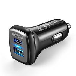 USB C Car Charger Quick Charge 3.0, CHOETECH 18W 3A Dual-Por