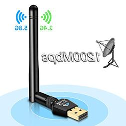 CARANTEE USB WiFi Adapter - AC 1200Mbps Dual Band, 5 dBi Hig