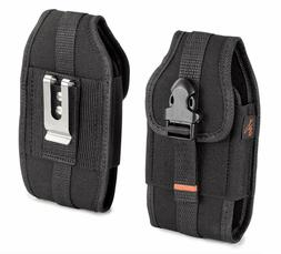 RUGGED Vertical Heavy Duty Canvas Cell Phone Holster Belt Cl