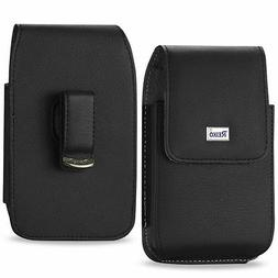 REIKO Vertical Leather Cover Side Case Pouch Rotating Clip f