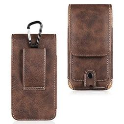LUXMO Vertical Phone Holster Genuine Leather Case Belt Clip