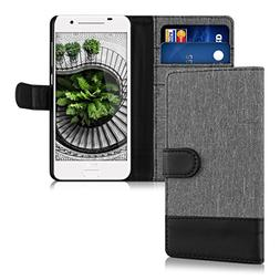 kwmobile Wallet Case for HTC One A9 - Fabric and PU Leather