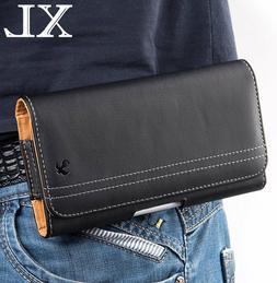 XL LARGE Phones - Horizontal BLACK Leather Pouch Holder Belt